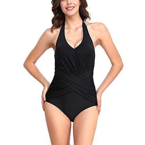 Damen Sexy Einteiler Badeanzug, Morbuy Vintage Schlankheits Sommer Bademode Verstellbarer Schultergurt Bauchweg Push Up Grose Grösen Bikini Strand Badekleid (S,Schwarz)