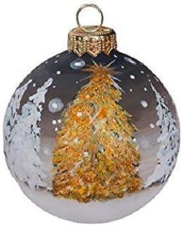 Palla di Natale con Neve - Paesaggio Natalizio - Dipinta a Mano in Ceramica - con Glitter Oro e cristalli Argento - Diamet...
