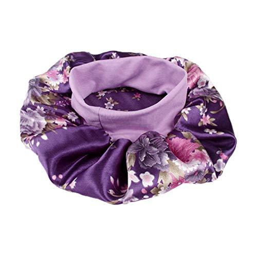 SUPVOX berretto da notte in raso di seta a fascia larga cofano notte copricapo fiore turbanti per capelli per donna bellezza capelli protezione per capelli (viola)