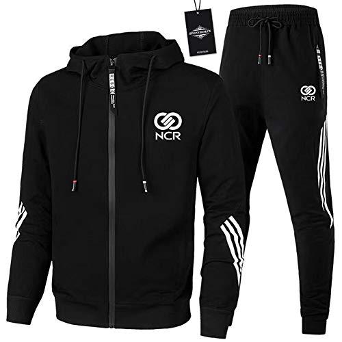 MQJUNZE de Los Hombres Chandal Conjunto Trotar Traje N_C-R Hooded Zipper Chaqueta + Pantalones Deporte X/Negro/L