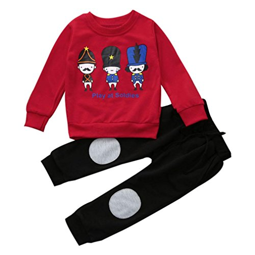 SMARTLADY 2-6 años Niño Niña Otoño/Invierno Ropa Conjuntos,Sudaderas + Pantalones,Personajes de Dibujos Animados Patrón (3 años, Rojo)