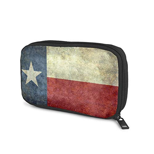 Flag State Texas Electronics Travel Gadget Organizer Tech Bag, Handy Gear Accessories Storage Carrying Bag Pouch for USB Cable SD Card Camera Hard Drive Flash Disk Power Bank