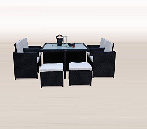 Ragnarök-Möbeldesign PolyRattan - DEUTSCHE Marke - EIGNENE Produktion - 8 Jahre GARANTIE auf UV-Beständigkeit Gartenmöbel Essgruppe Tisch + 4 Stühle & 4 Hocker 12 Polster Schwarz - 4