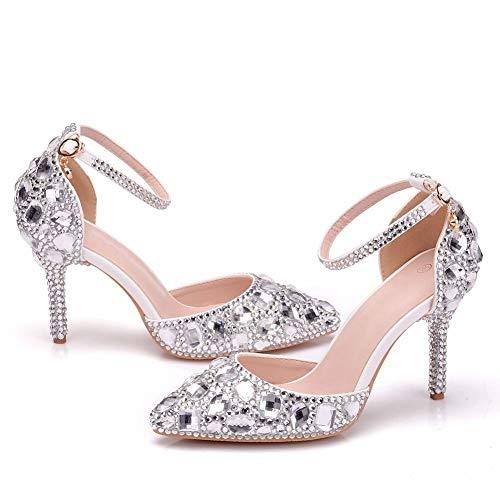 AORISSE Zapatos De Novia para Mujer, Zapatos De Boda Huecos De Diamantes...