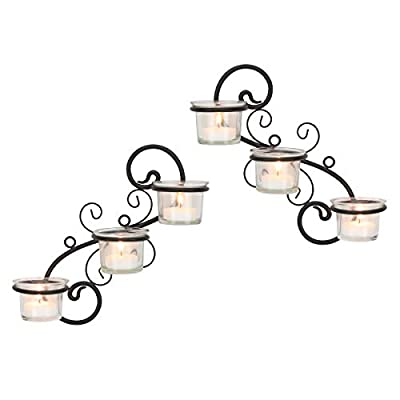 Stonebriar Decorative Tea Light Candle Holder Wall Sconce Set, 6-tealight, Black