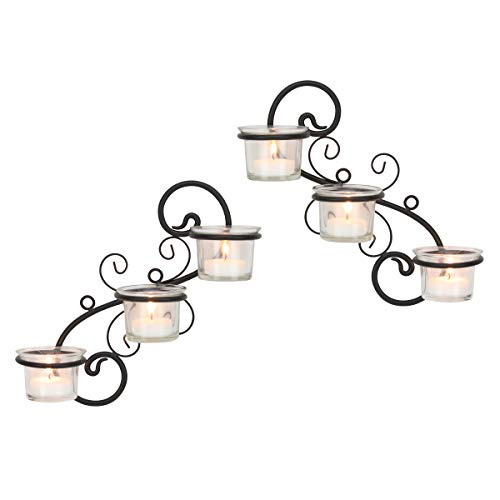 Stonebriar Decorative Tea Light Candle Holder Wall Sconce Set, 6-tealight, Black