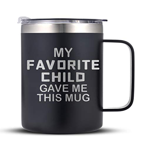 Novelty Birthday Gifts for Dad from Daughter Son Kids, My Favorite Child Gave Me This Coffee Mug Gift for Men, Funny Father s Day Present Idea for Father, 14 oz Coffee Tumbler Gift, Black