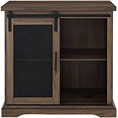 """Pemberly Row Farmhouse Mesh Sliding Barn Door 32"""" Wood Home Coffee Station Accent Chest Buffet Storage Cabinet in Dark Wa"""