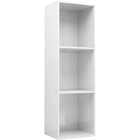 vidaXL Estantería Librería Convertible Mueble TV Estante Libros Vertical 3 Niveles Compartimentos Módulo Televisión Televisor Aglomerado Blanco Brillo