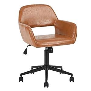 iHouse Modern Office Chair Faux – Silla giratoria para ordenador (piel, ajustable, reposabrazos trasero), color marrón