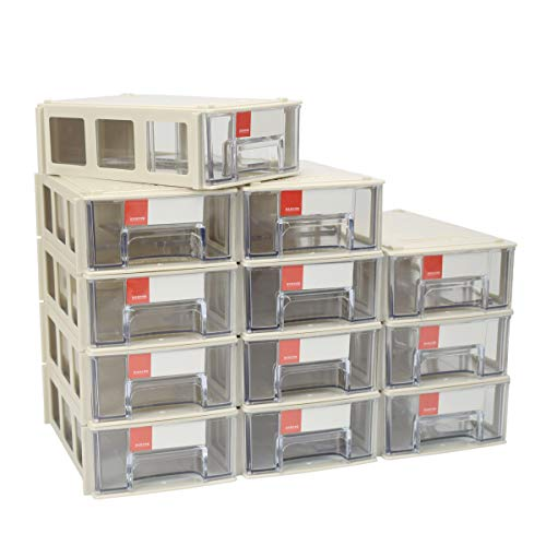 ZIIYAN Set of 12 Plastic Desktop Stackable Modular Craft Small Parts Hardware Drawers Organizer Containers Cabinet Storage Boxes with Compartments