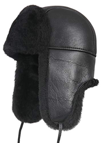 Zavelio Unisex Shearling Sheepskin Leather Aviator Russian Ushanka Trapper Winter Fur Hat Medium Solid Black