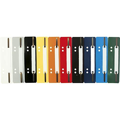 Exacompta 426025B Packung (mit 250 Einhängeheftstreifen aus PP mit Doppellochung, ideal für Dokumente Din A4, 35 x 150 mm) 250er Pack farbig sortiert