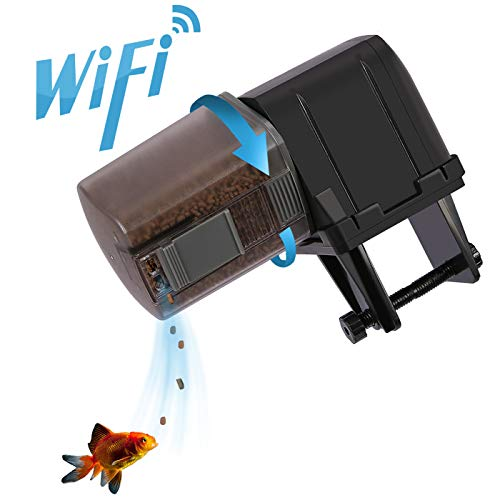 HDE Automatic Fish Feeder for Fish Tank Aquarium [WIFI Enabled, Programmable Timer] Auto Fish Feeders Electronic Food Dispenser for Feeding Fish on Vacation