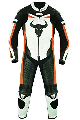 BULLDT Einteiler Motorradkombi Lederkombi Fluoreszierender aus Rindsleder, Größe:56/2XL, Farbe:Orange