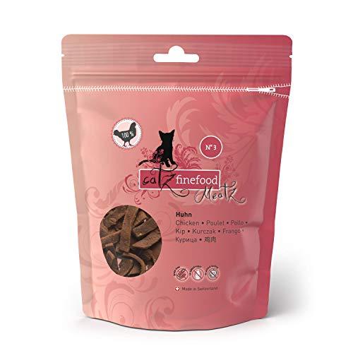 catz finefood Meatz Katzen Leckerlies Huhn N° 3 - knusprige Fleischstreifen, gegrilltes Hühnerfleisch mit Biotin für gänzendes Fell - Katzensnack ohne Zucker, getreidefrei, 45g