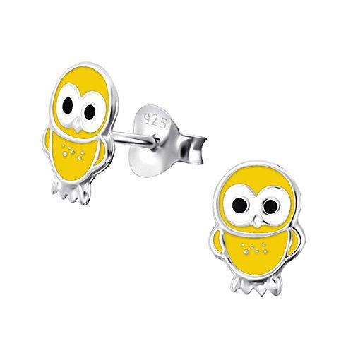Laimons Kids Orecchini a pressione per bambini gioielli per bambini Gufo Giallo Argento Sterling 925