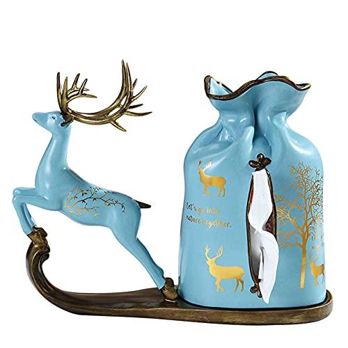 WDSWBEH Soporte para Caja de pañuelos, Soporte nórdico Creativo para pañuelos de Ciervo de Resina, Caja dispensadora de pañuelos faciales extraíble para la decoración del hogar, Cocina, Oficina, Azul