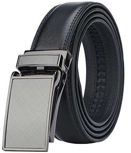 "Men's Comfort Genuine Leather Ratchet Dress Belt with Automatic Click Buckle (Suit Pant Size 28""-44"", Style 1 -Black)"
