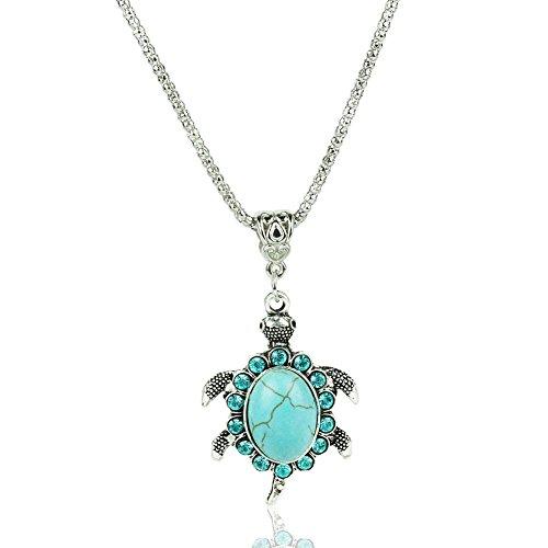 khamchanot Vintage Turquoise Pendant Necklace Womens Fashion Sea Turtle Chain Jewelry 1pcs