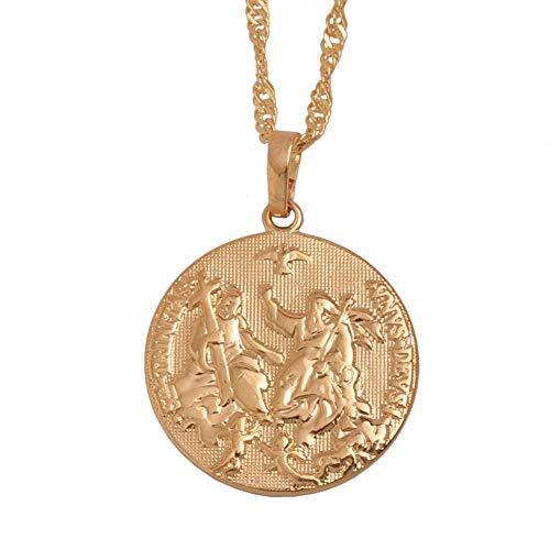 Nobrand Espíritu Santo Cupido Jesús Collares Pendientes Luz Rosa Oro Rosa para Mujeres Niñas Cristianismo Joyería Religiosa