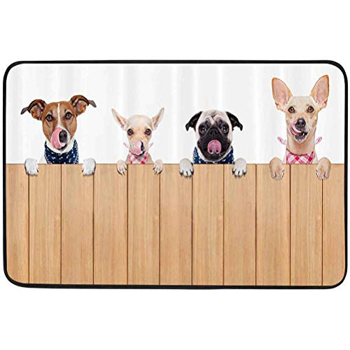 YUAZHOQI Dog Lover Decor Collection Door mats, Row of Hungry Dogs Tongue Sticking Out Behind A Wall of Wood Lunch Time Art, W23.6 x L35.4 Inch Resist Dirt Rugs for Entrance, Camel White