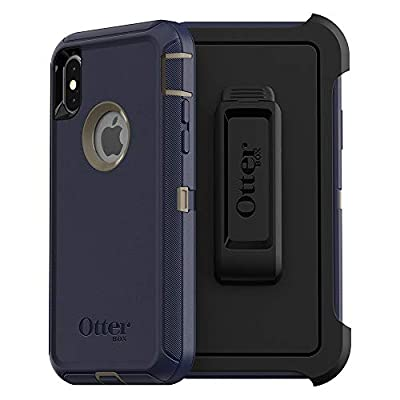 OtterBox DEFENDER SERIES SCREENLESS EDITION Case for iPhone Xs & iPhone X - (NOT compatible with iPhone XR or XS Max) - Retail Packaging - DARK LAKE (CHINCHILLA/DRESS BLUES)
