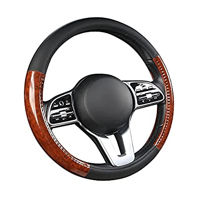Steering Wheel Cover-Black with White Line 15 inch Breathable Anti-Slip Microfiber Leather Auto Steering Wheel Protector Accessories Universal Fit for Sedan,SUV,Truck,Minivans,Car Accessoires