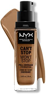 NYX PROFESSIONAL MAKEUP Can't Stop Won't Stop Foundation, 24h Full Coverage Matte Finish - Nutmeg