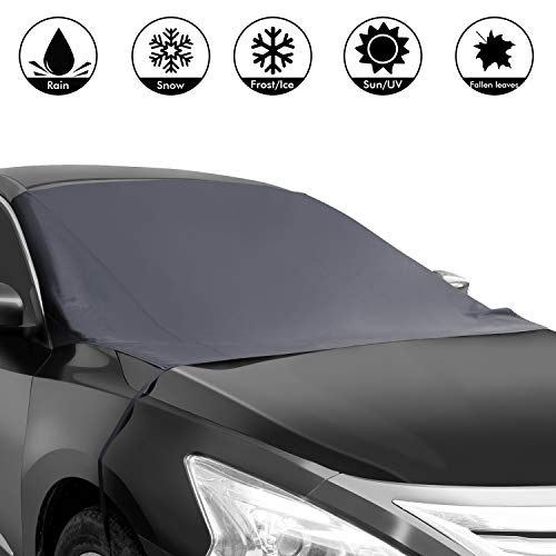 Shynerk Magnetic Edges Car Snow Cover, Frost Car Windshield Snow Cover, Frost Guard Protector, Ice Cover, Car Windsheild Sun Shade, Waterproof Windshield Protector Car/Truck/SUV 82'x48.8'