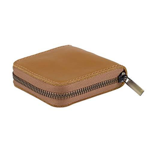Fuinloth Leather Condom Case Holder, Small Zipper Bag Ginger