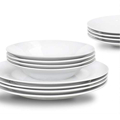 Sabichi 12-Piece Porcelain Day to Day Dining Set, White