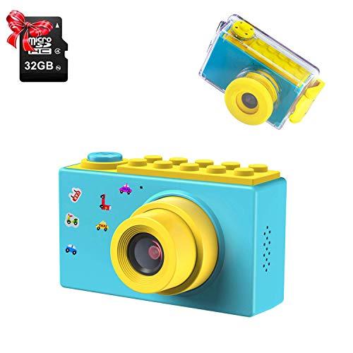 "ShinePick Impermeable Cámara Fotos Niños, Zoom Digital de 4X / 8MP / 32GB Tarjeta / 1080P HD / 2"" TFT LCD de la Pantalla Camara Fotos Infantil Regalos Navidad (Azul)"