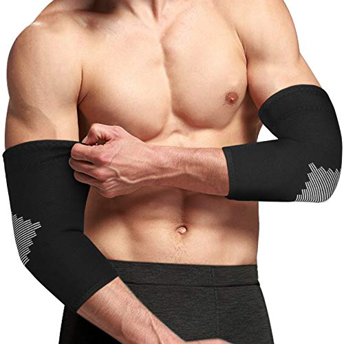 AVIDDA Elbow Support Sleeve for Men Women 1 Pack Antislip Elbow Brace Compression Arm Supports for Tennis Elbow Golfers Elbow Arthritis Weightlifting Tendonitis Joint Pain Relief Single Black