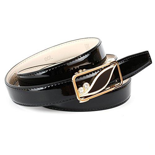 Anthoni Crown Designer Damengürtel, Lackleder schwarz, Schließe Automatik goldfarbene, 2,5cm Breite, 85-110cm/4G00L (90)