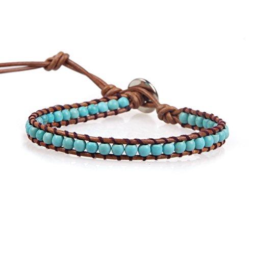 KELITCH Natürliche Türkis Perlen Wrap Armband Neue Kristall Strang armband für Frauen 2020 (Türkis)