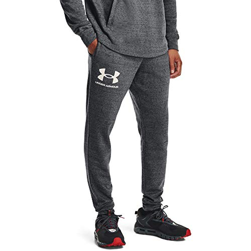 Under Armour UA Rival Terry Jogger Pantalones Deportivos, Gris (Pitch Gray Full Heather/Onyx White), 4XL para Hombre