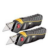 Cat 2 Pack Safety Utility Knife Box Cutters Self-Retracting Blade, Squeeze Handle to Extend Blade, Lock Blade Open w/Switch, Ergo Handle w/ 3 Safety-Tip Blades That Store Inside - 240325