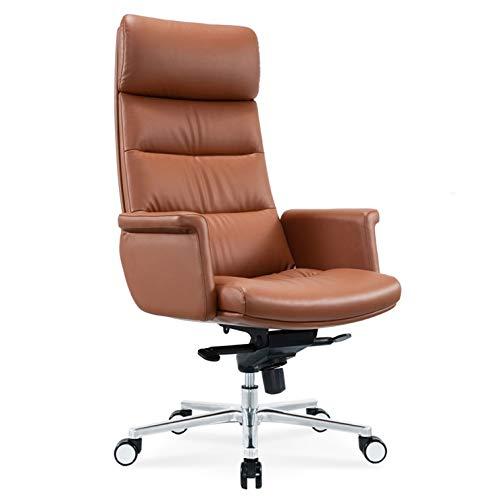 Silla de oficina de cuero ergonómica silla de escritorio silla de la computadora Silla giratoria ajustable de tareas for sillas de respaldo alto ejecutivo con reposabrazos reposacabezas y soporte lumb