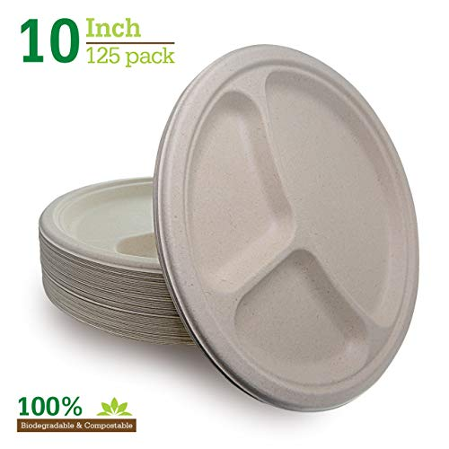 Compostable Biodegradable Brown 10' 3 Compartment Paper Plates [125-Pack] Heavy-Duty Quality Natural Disposable Bagasse, Eco-Friendly. Made of Sugar Cane Fibers, Nexhex