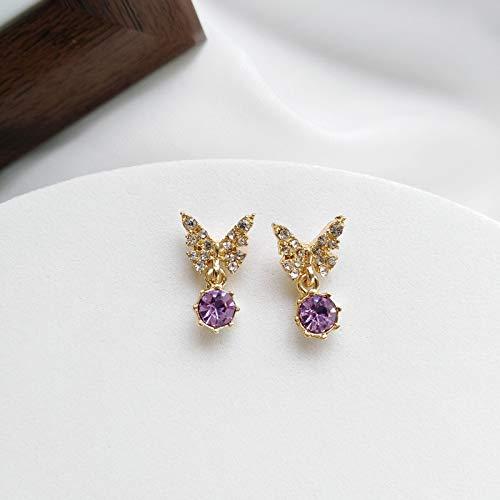 SALAN Fantasía Pequeño Púrpura Rhinestone Butterfly Circon Clip En Pendientes Sin Agujero Verano Mini Temperamento Mariposa Pendientes