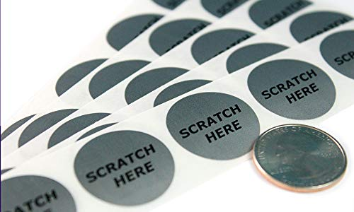 """Silver 1"""" Round with""""Scratch Here"""" Scratch Off Labels – Qty. Roll of 500 – My Scratch Offs"""