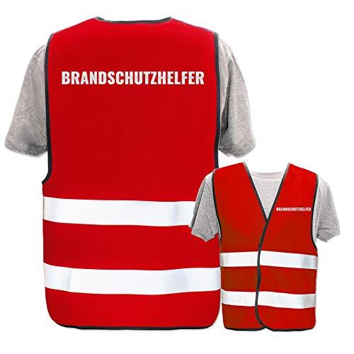 Bedruckte Warnwesten mit ISO-Leuchtstreifen * Standard- oder Reflex-Druck * Erste Hilfe und Brandschutz, Begriff:Brandschutzhelfer (Reflektierend), Farbe + Größe:Rot (M/L)