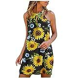 Vestido Hombro Descubierto Vestidos Verano Mujer Vestido Flores Midi Ropa Casual Playa Camisón(Amarillo,L)