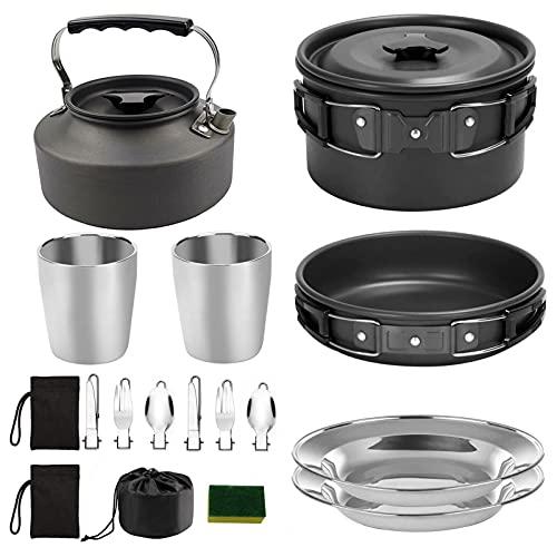Camping utensilios de cocina portátil maceta taza tetera conjunto plegable al aire libre utensilios senderismo picnic vajilla herramienta Equipo de viaje (Color : Black)