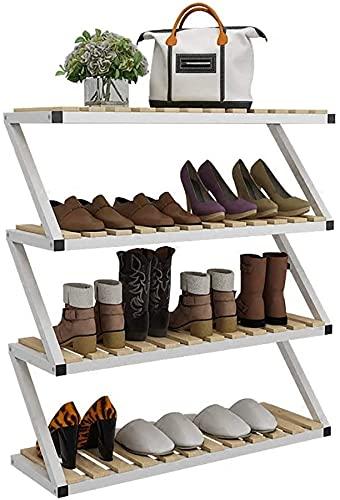 EPYFFJH Soporte de Estante de Almacenamiento de Zapatos de Madera, Estante de Marco de Hierro de 4 Niveles de Zapatos, Titular del Organizador 80 * 26 * 87cm, Espacio SAVNG (Color: a)