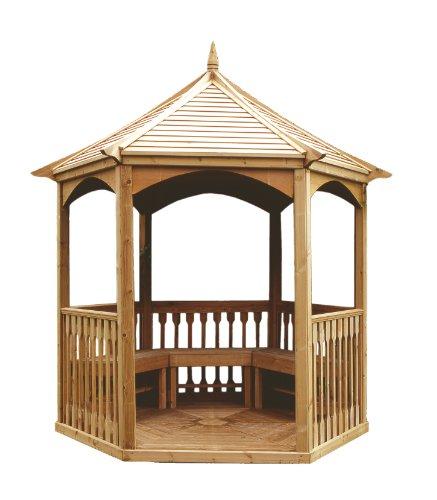 MIO-GIARDINO Brompton - Gazebo esagonale in legno per giardino - tetto in legno - pavimento incluso - misure : ø 270 cm - h 310cm