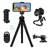 Phone Tripod,VOSSCOSS Flexible Octopus Mini Travel Tripod for iPhone,Android,GoPro, DSLR,IPAD, Action Camera,with Wireless Remote Shutter, 2 in 1 Universal Cell Phone/Tablet Holder(New Version)