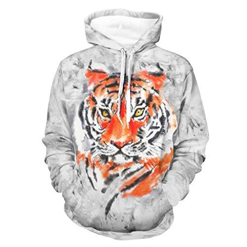 Ink Tiger - Sudadera con capucha suave con bolsillo canguro bifurcado para hombres y mujeres para fiesta de trabajo, color blanco XL