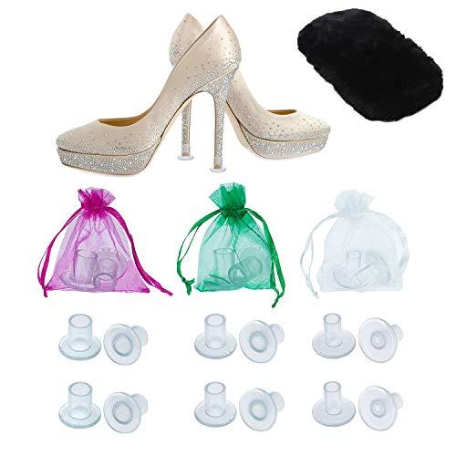 Protectores de Tacones Altos Para Zapatos de Mujer por MEGON, 6 Pares Para Todos los Tamaños de Tacón Pequeños, Medianos y Grandes - Protegen los Tacones del Césped, Grava, Ladrillos y Grietas